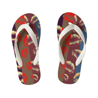 Florescent Red Striped Lips Thongs