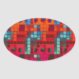 Florescent Tiled Abstract Oval Sticker