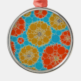 Florescent Turquoise Orange Abstract Flowers Silver-Colored Round Decoration