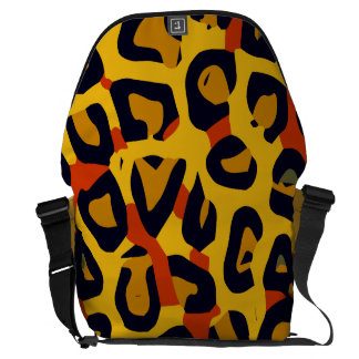 Florescent Yellow Orange Vector Cheetah Courier Bags