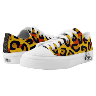 Florescent Yellow Orange Vector Cheetah Printed Shoes