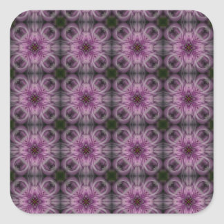 Floret Tile Pattern in Purple Square Sticker