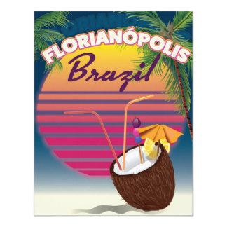 Florianópolis Brazilian travel poster 11 Cm X 14 Cm Invitation Card
