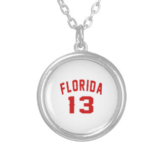 Florida 13 Birthday Designs Silver Plated Necklace