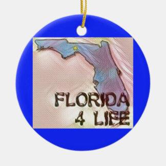 """Florida 4 Life"" State Map Pride Design Ceramic Ornament"