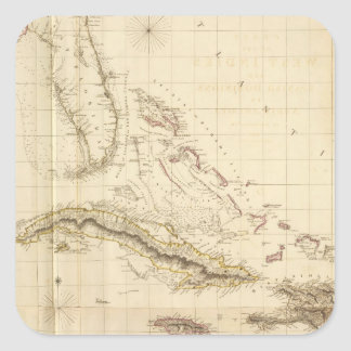 Florida and West Indies Square Sticker