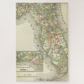 Florida Antique Map Quilted Colors Vintage Map Jigsaw Puzzle