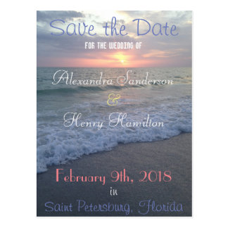 Florida Beach Sunset Save the Date Postcard