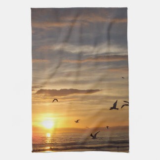 Florida Beach Sunset with Birds Tea Towel