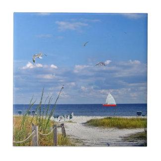 Florida Beach with Sailboat Tile
