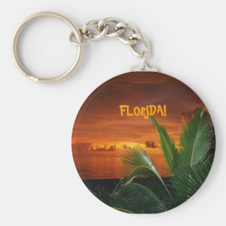 FLORIDA! beautiful Florida sunset, palm tree Basic Round Button Key Ring