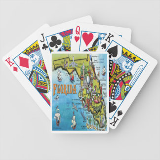 Florida Cartoon Map Bicycle Playing Cards