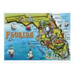 Florida Cartoon Map Post Cards