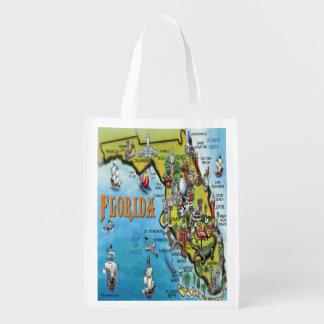 Florida Cartoon Map Reusable Grocery Bag