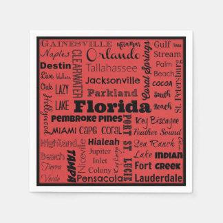 Florida cities typography napkins disposable serviettes