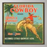 Florida Cowboy Kissimmee Citrus Growers Vintage Cr Print