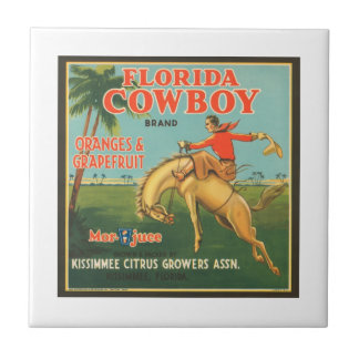 Florida Cowboy Kissimmee Citrus Growers Vintage Cr Tiles