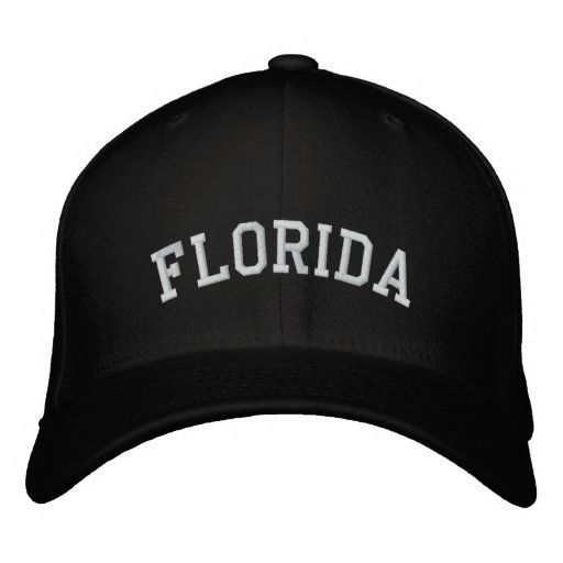 Florida Embroidered Flexfit Wool Cap Black Embroidered Baseball Caps
