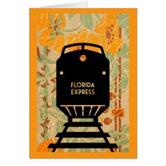 Florida Express Train Silhouette Tropical Flowers Card