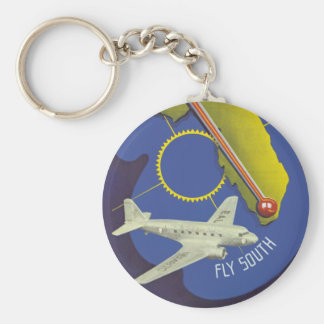 Florida ~ Fly South Basic Round Button Key Ring