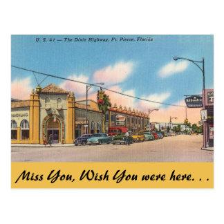 Florida, Ft. Pierce, The Dixie Highway Postcard