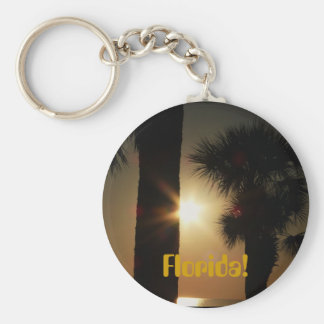 Florida! Gilf sunset through palm trees Basic Round Button Key Ring