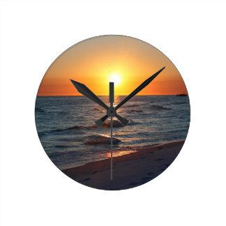 Florida gulf coast sunset round clock