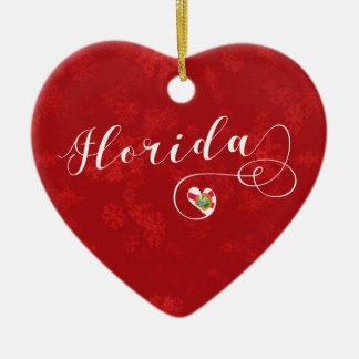 Florida Heart, Christmas Tree Ornament, Floridian Ceramic Ornament