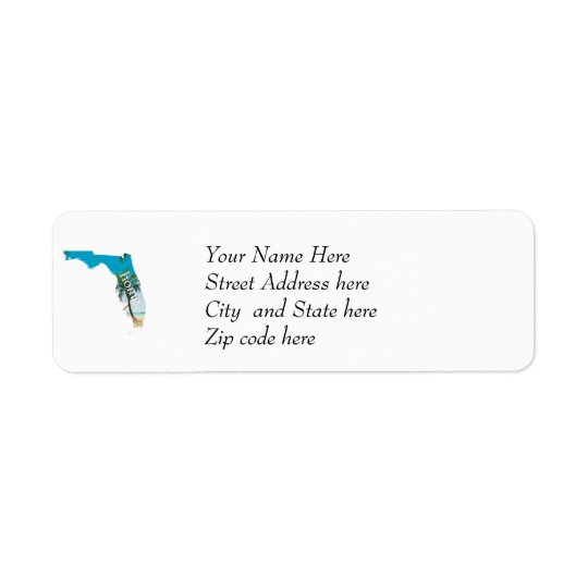 FLORIDA Home  Beach Ocean Palm Tree Filled Return Address Label