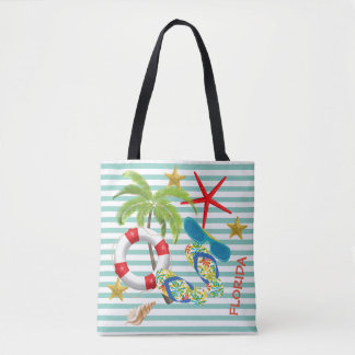 Florida Images on Teal Stripes Tote Bag