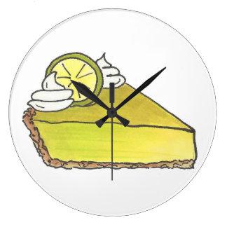 Florida Key Lime Pie Slice Dessert Food Clock