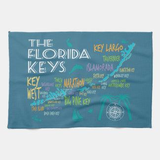 Florida Keys fun map of the islands Tea Towel
