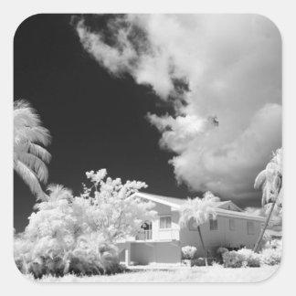 Florida Keys house and its palm trees, USA. Square Sticker