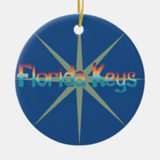 Florida Keys in sunset colors with sunburst Ceramic Ornament