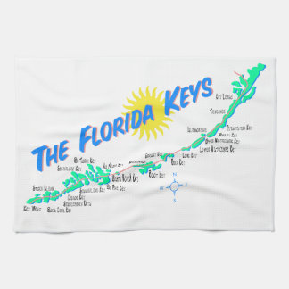 Florida Keys Map Hand Towels