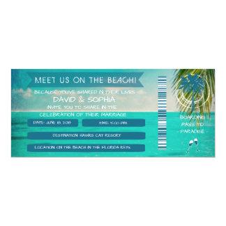 Florida Keys On the Beach Wedding Boarding Pass 10 Cm X 24 Cm Invitation Card