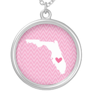 Florida Love Chevron State Map Silver Plated Necklace