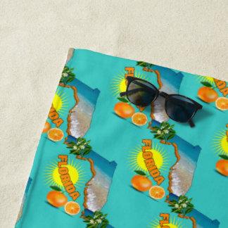 Florida Map Sunny Oranges Summer Beach Towel