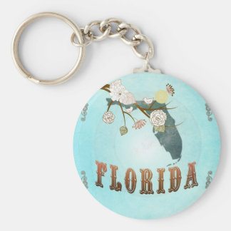 Florida Map With Lovely Birds Key Ring