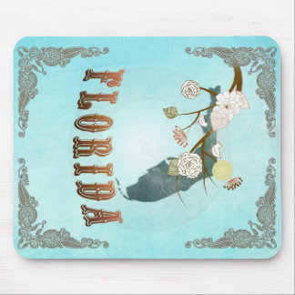 Florida Map With Lovely Birds Mouse Pad