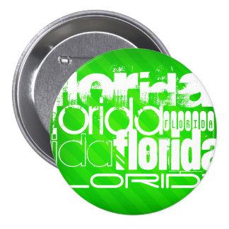 Florida; Neon Green Stripes. 7.5 Cm Round Badge