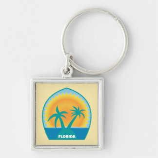 Florida - Palm Beach Square Keychain. Silver-Colored Square Key Ring