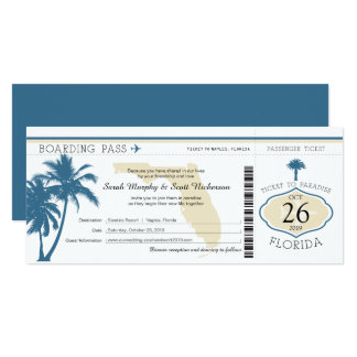 Florida Palm Tree Boarding Pass Wedding 10 Cm X 24 Cm Invitation Card