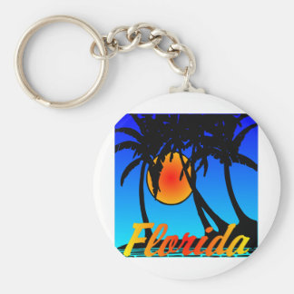 Florida Palm Trees Sunset Key Ring