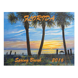 """FLORIDA PALMS SPRING BREAK POSTCARD 2016"""