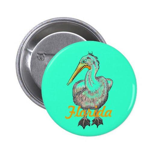 Florida pelican artistic button