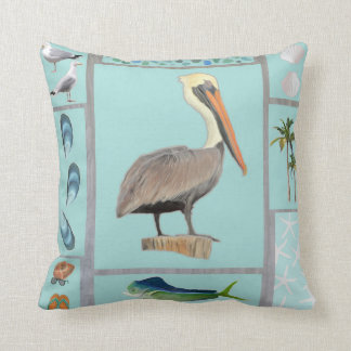 Florida Pelican Motif Cushion