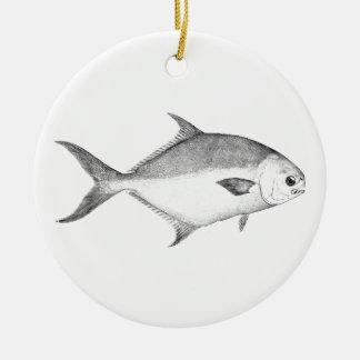 Florida Pompano Logo (line art) Ceramic Ornament