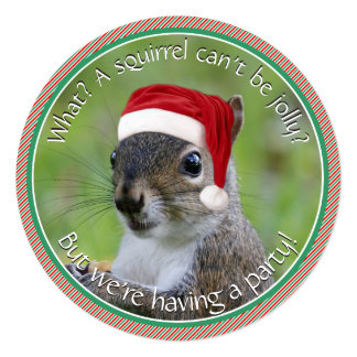 Florida Santa Squirrel™ is Jolly Holiday Party 13 Cm X 13 Cm Square Invitation Card