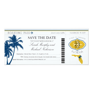 Florida Save the Date Boarding Pass 10 Cm X 24 Cm Invitation Card